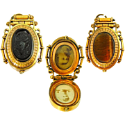 Antique Victorian Watch Fob Double Sided Locket Fob Cameo Tiger's Eye