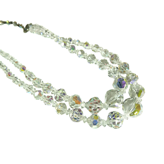 Vintage Crystal Beads Iridescent Double Strand Sensational