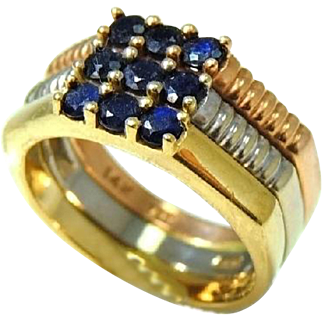 14k Tri Color Blue Sapphire Ring .81 ctw Rose Yellow White Gold