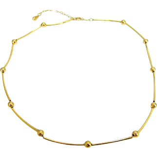14k Gold Bead and Bar Station Necklace 16 to 18 inch Trailing Chain