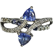 14k Gold Tanzanite Diamond Ring Bypass Setting Contemporary Vintage