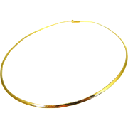 14k Gold Omega Chain Necklace Choker 16 inch Italy 3mm