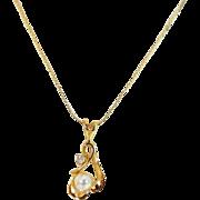 Pearl Diamond Open Work Necklace 14k Gold Open Work Setting