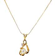 Pearl Diamond Open Work Necklace 14k Gold Open Work Setting