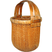 Vintage Bamboo Basket Large with Bentwood Handle Country Decor