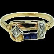 Art Deco 14k Sapphire Diamond Ring Elegant