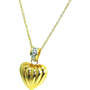 14k Puffy Heart Necklace Gold Pendant and Chain Contemporary Vintage