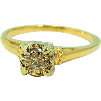 14k Champagne Diamond Engagement Ring Deco Style 1930s