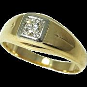 14k Gold Men's Diamond Ring .20 ct VS1 Outstanding Vintage Estate Ring