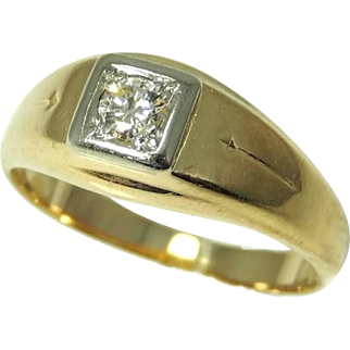 14k Gold Men's Diamond Ring .20 ct VS1 Outstanding Vintage Estate Ring