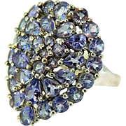10k Tanzanite Cocktail Ring White Gold Big Bold Contemporary Vintage