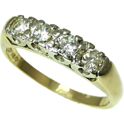 Vintage Five Stone Diamond Wedding Band Ring 14k Gold