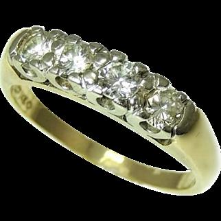 Vintage Five Stone Diamond Wedding Band Ring 14k Gold