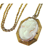 Antique 10k Cameo Pendant  Pink Shell Goddess 14k Gold Chain c1910