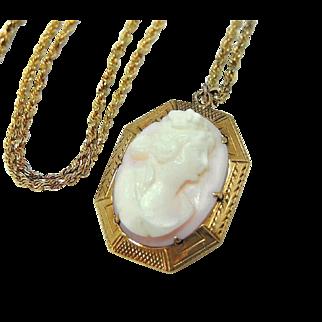 Antique 10k Cameo Pendant  Pink Shell Goddess 14k Gold Chain c1910