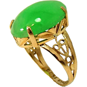 Vintage 18k Art Deco Style Jade Ring Apple Green 8.06 carats