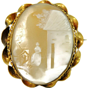 Antique 9k Gold Cameo Brooch Scenic Cameo