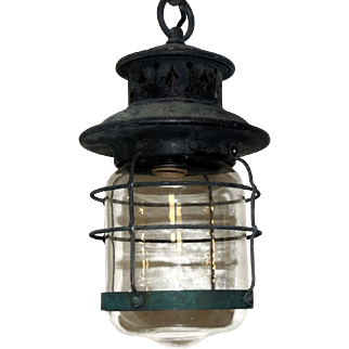 Arts and Crafts Lantern Hanging Light Fixture Rewired for Outdoor Use