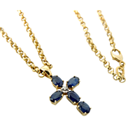 Vintage Sapphire Cross Necklace 14k Gold Vivid Sapphires Diamond Accent