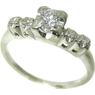 1940s Diamond Engagement Ring 14k White Gold .34 ctw VS1 Stunning