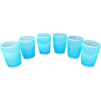 Fenton Hobnail Blue Opalescent Juice Glasses 5 oz