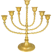1940s Brass Menorah 7 Branch Jewish Symbol of Faith