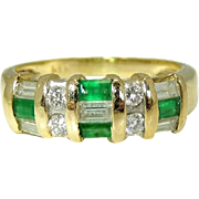 14k Diamond Emerald Baguette Ring 1.31 ctw Vintage Beauty