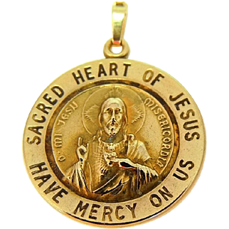Vintage 14k Gold Sacred Heart Medal Pendant Catholic Religious Jewelry