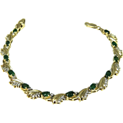 Emerald Diamond Tennis Bracelet 14k Gold Heavy Setting 14.8g