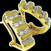 14k Gold Diamond Demi Hoop Earrings Omega Backs .50 ctw