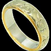 14k Gold Keepsake Wedding Band Floral Two Tone Vintage Wedding Ring