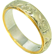 14k Gold Keepsake Wedding Band Floral Two Tone Vintage Wedding Ring