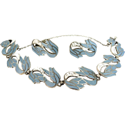 Vintage Margot De Taxco Enamel Sterling Silver Bracelet Earrings Set
