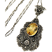 Art Nouveau Peruzzi Silver Citrine Necklace Exquisite Sterling Setting Italy