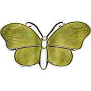 Vintage Ivar T Holth Norway Sterling Silver Guilloche Enamel Butterfly Brooch Pin