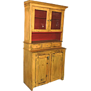 Painted Stepback Cupboard 2 Piece Hutch Antique Pine