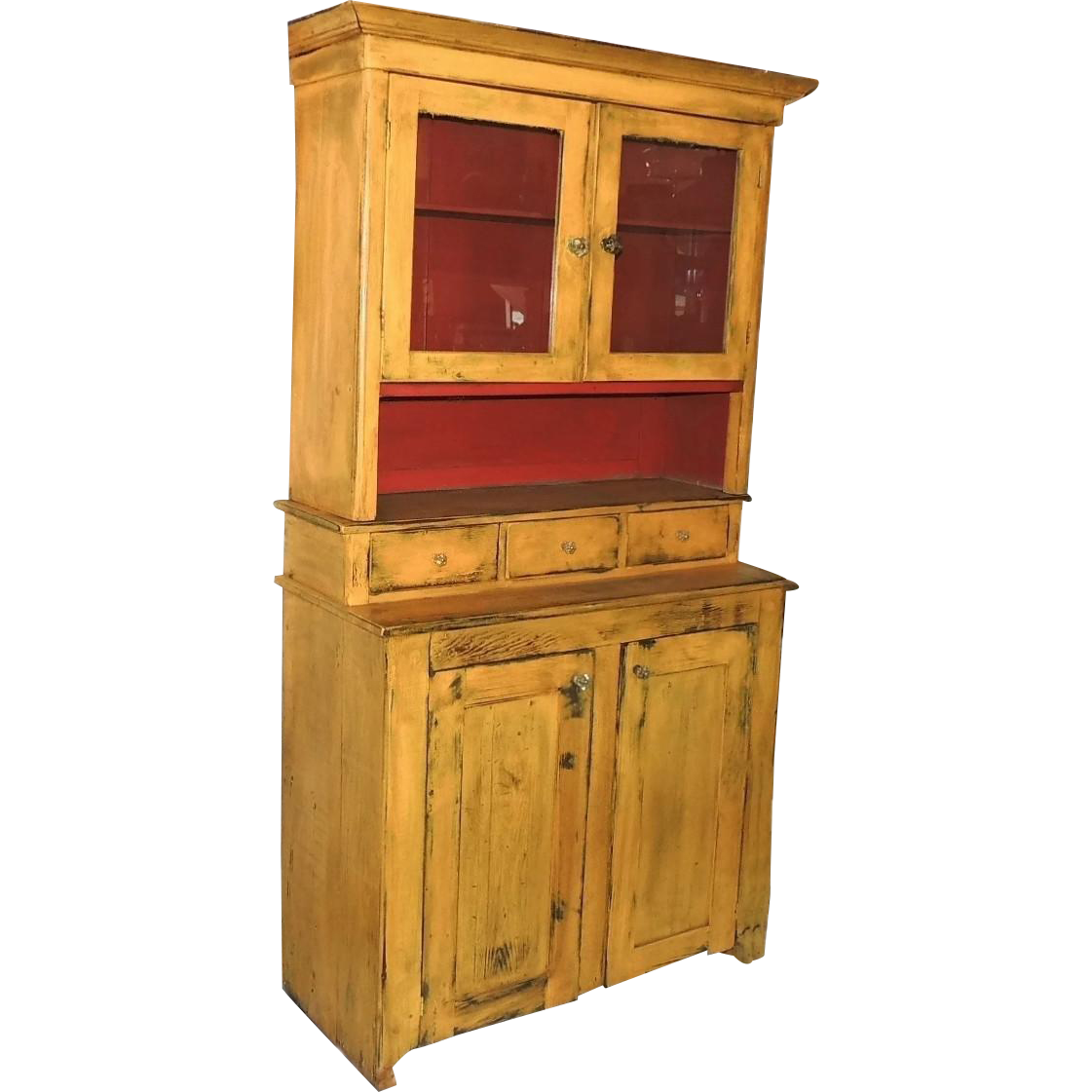 Painted Stepback Cupboard 2 Piece Hutch Antique Pine - Painted Stepback Cupboard 2 Piece Hutch Antique Pine From Premier