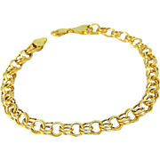10k Gold Double Cable Link Bracelet Great for Charms Unisex Style 8 inch