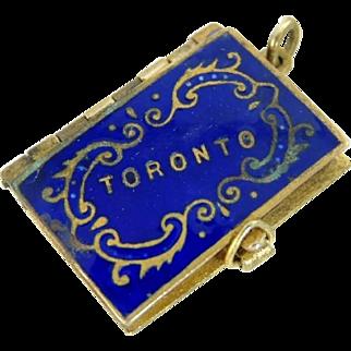 c1900 Toronto Enamel Photo Book Charm Canada Souvenir Pendant Brass