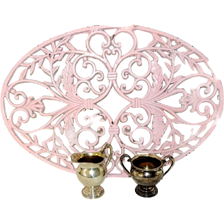Big Cast Iron Trivet Shabby Pink Painted Over 22 inches French Decor
