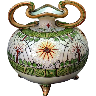 19th Century Nippon Footed Vase Heavy Moriage Rare Colors and Pattern