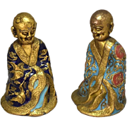 Chinese Champleve Enamel Gilt Luohan Arhat Figure Bronze Alloy Qing Dynasty 18-19th Century