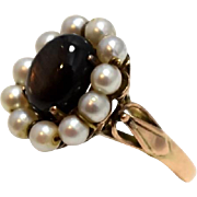 14k Black Star Sapphire Strung Pearl Ring Art Nouveau  Rose Gold Setting