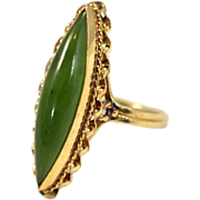 Vintage 14k Gold Jade Ring Beautiful Green Stone