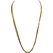 14k Liquid Gold Multi Strand Necklace 22 inch Contemporary Vintage