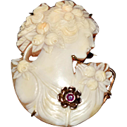 1920s Cut Out Cameo Silhouette Brooch 14k Gold with Ruby Accent