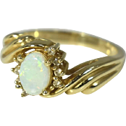 Vintage 14k Gold Opal and Diamond Ring Fiery Australian White Opal