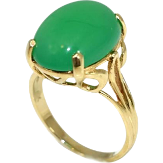 Vintage 14k Apple Green Jade Ring Large Stone
