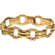 Vintage 18k Wide Fancy Link Bracelet Gold Double Link Italy 1950s
