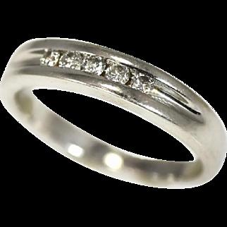 Men's 14k Diamond Band Ring Wedding Band White Gold .25 carats